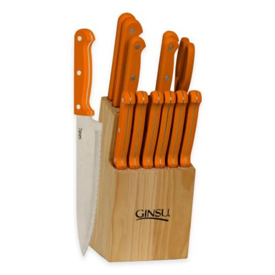 Ginsu Essential Series 14-Piece Knife Block Cutlery Set in Orange Spice