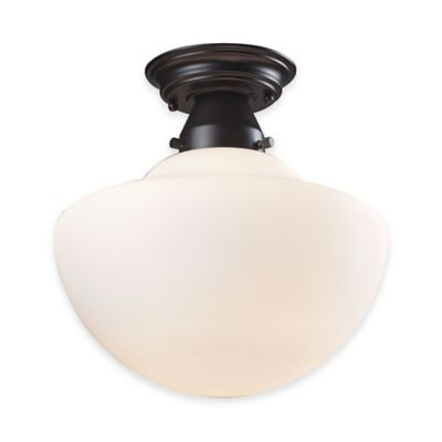 Elk Lighting Schoolhouse 1-Light 12-Inch Semi-Flush Mount Ceiling Light in Satin Nickel