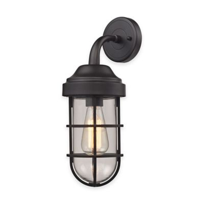 Elk Lighting Seaport 16-Inch 1-Light Wall-Mount Sconce in Oil Rubbed Bronze with Steel Cage Shade