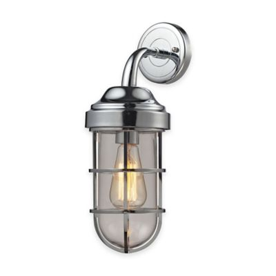 Elk Lighting Seaport 16-Inch 1-Light Wall-Mount Sconce in Polished Chrome with Steel Cage Shade