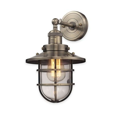 Elk Lighting Seaport 13-Inch 1-Light Wall-Mount Sconce in Brass with Steel Cage Shade