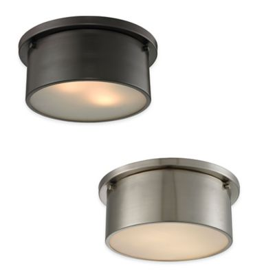 ELK Lighting Simpson 2-Light Flush-Mount Ceiling Light in Brushed Nickel