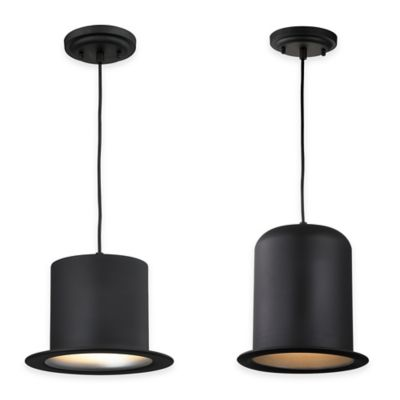 Elk Lighting Chapeau 10-Inch 1-Light Pendant in Matte Black