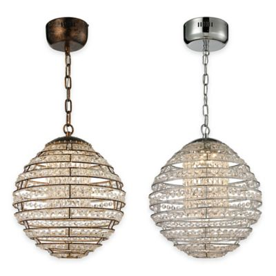 Elk Lighting Crystal Sphere 1-Light Pendant Light in Polished Chrome