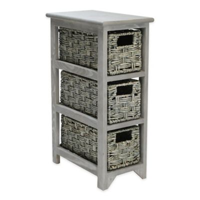 Basketville 3-Drawer Pinewood and Woven Maize Organizer in Grey