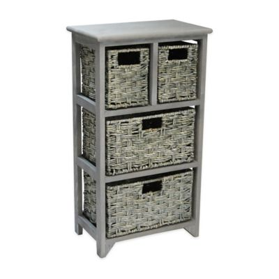 Basketville 4-Drawer Pinewood and Woven Maize Organizer in Grey