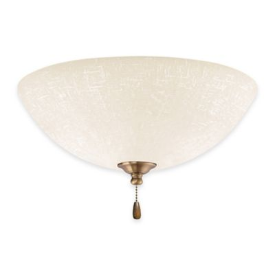 Emerson White Linen LED Bowl Light for Ceiling Fan in Antique Brass