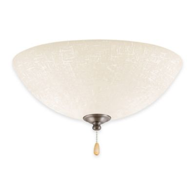 Emerson White Linen LED Bowl Light for Ceiling Fan in Antique Pewter