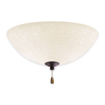 Emerson White Linen LED Bowl Light for Ceiling Fan in Distressed Bronze