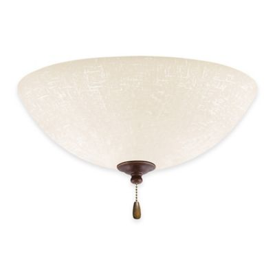 Emerson White Linen LED Bowl Light for Ceiling Fan in Gilded Bronze