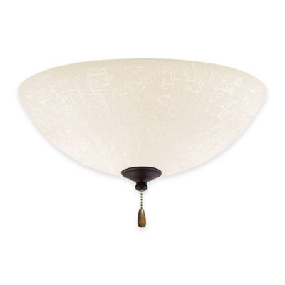 Emerson White Linen LED Bowl Light for Ceiling Fan in Golden Espresso
