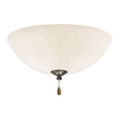 Emerson White Linen LED Bowl Light for Ceiling Fan in Vintage Steel