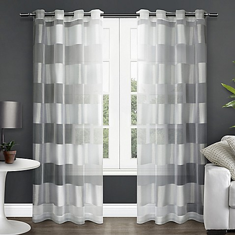 Navaro 84 inch stripe sheer grommet top window curtain