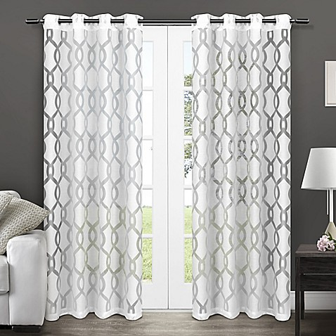 Rio 84 inch sheer grommet top window curtain panel pair in white bed