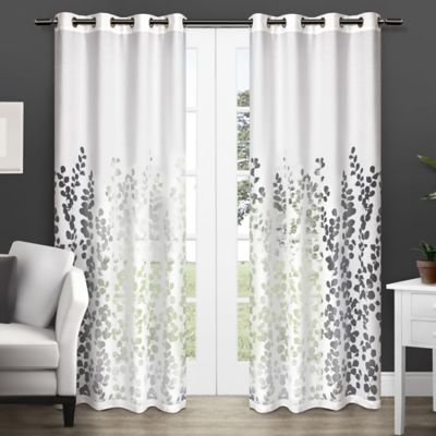 Wilshire 84-Inch Sheer Grommet Top Window Curtain Panel Pair in White