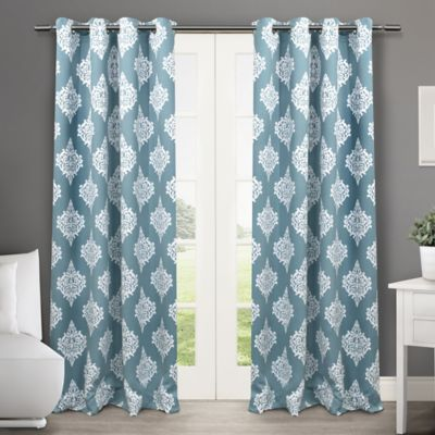 Medallion 84-Inch Grommet Top Room-Darkening Insulated Window Curtain Panel Pair in Black Pearl
