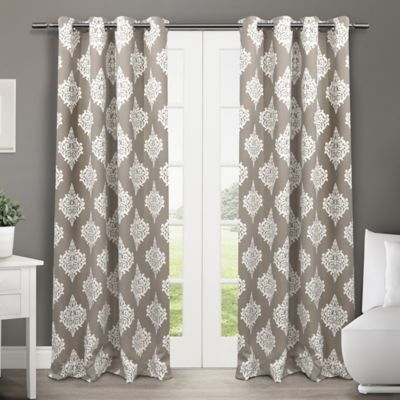 Medallion 84-Inch Grommet Top Room-Darkening Insulated Window Curtain Panel Pair in Taupe