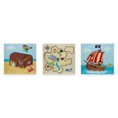 Teamson Fantasy Fields Pirate Island Children's Canvas Wall Art (Set of 3)