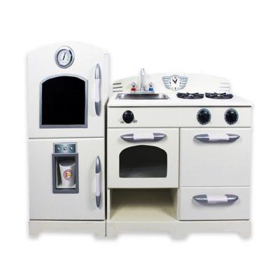 Teamson 2-Piece Wooden Play Kitchen Set in White