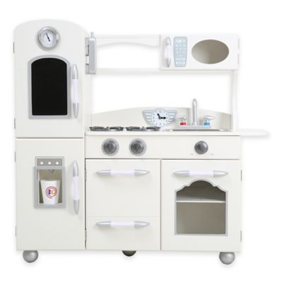 Teamson Kids One-Piece Wooden Play Kitchen Set in White