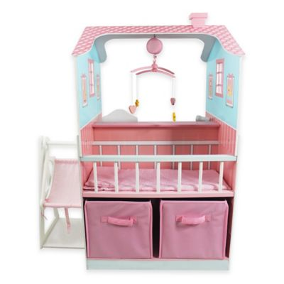 Teamson Kids Baby Nursery Doll House in Pink