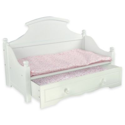 Teamson Kids 18-Inch Doll Furniture Trundle Bed in White