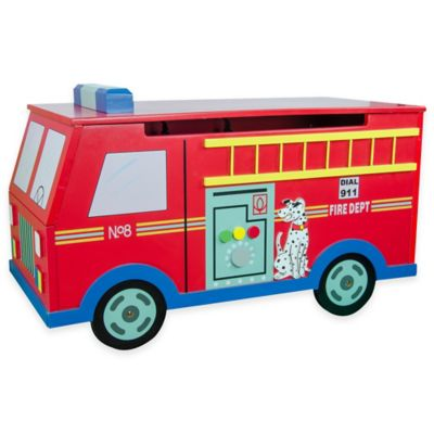 Teamson Kids Fire Engine Toy Storage Box