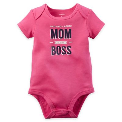 "carter's® Size 12M ""Dad and I Agree Mom is the Boss"" Bodysuit in Pink"