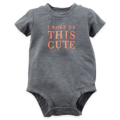"carter's® Size 12M ""I Woke Up this Cute"" Bodysuit in Grey"