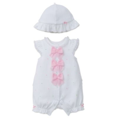 Size 6M Bow Romper in White/Pink