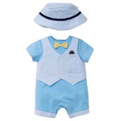 Little Me® Size 6M 2-Piece Striped Vested Romper and Hat Set in Blue