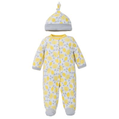 Offspring® Size 3M 2-Piece Lemon Print Snap Front Footie and Hat Set in Yellow/Grey