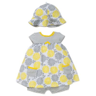 Offspring® Size 6M 2-Piece Floral Romper Dress and Hat Set in Yellow/Grey