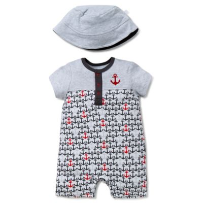 Grey Romper and Hat Set