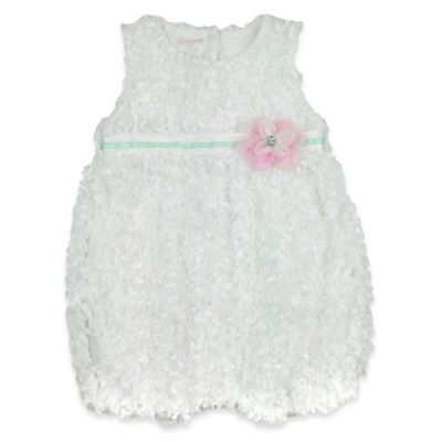 Nanette Baby® Size 0-3M Sleeveless Knit Woven with 3D Flower Romper in White