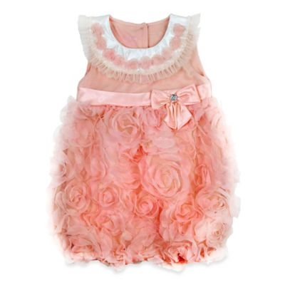 Nanette Baby® Size 0-3M Sleeveless Tulle Flowers with Satin Bow Romper in Orange
