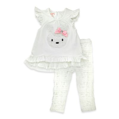 Nanette Baby® Size 0-3M 2-Piece Embroidered Bunny Flutter Sleeve Tunic and Legging Set in White