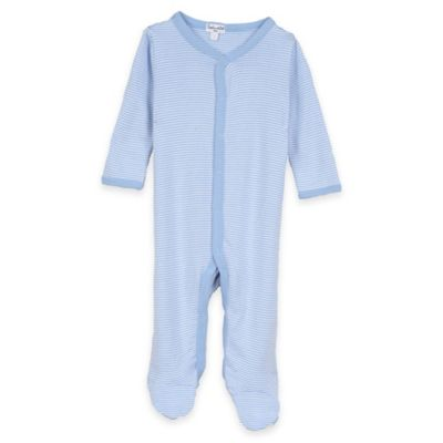 Splendid® Size 0-3M Snap-Front Striped Footie in Blue and White