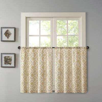 Madison Park Delray 24-Inch Printed Diamond Window Curtain Tier Pair in Tan