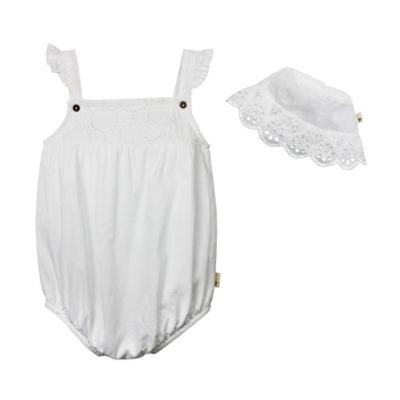 Burt's Bees Baby® Size 9M 2-Piece Eyelet Organic Cotton Bubble Romper and Hat Set in White