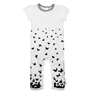 Burt's Bees Baby Size 24M Flutter Sleeve Organic Cotton Ombré Butterfly Coverall in White/Black