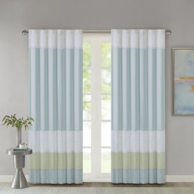 Madison Park Carter 84-Inch Rod Pocket/Back Tab Window Curtain Panel in Green
