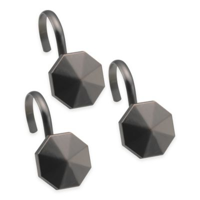Highly Styled Metal Shower Curtain Hooks in Black (Set of 12)