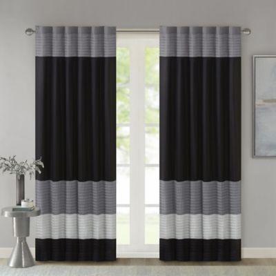Madison Park Amherst 84-Inch Rod Pocket/Back Tab Window Curtain Panel in Black