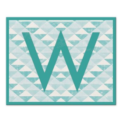 Teal Pattern Letter Canvas Wall Art