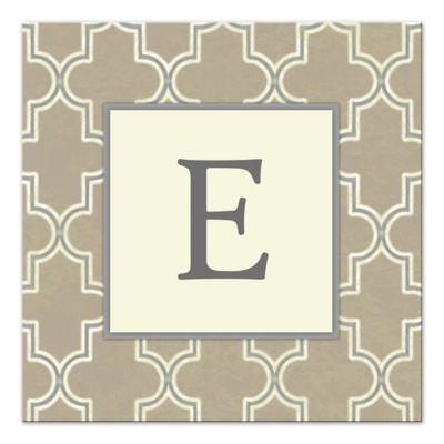 Greige Painted Pattern Letter Canvas Wall Art