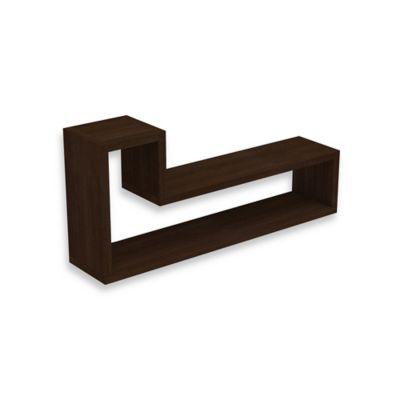 "Manhattan Comfort Barabs Tetris ""L"" Shaped Wall-Mount Floating Shelf in Tobacco"