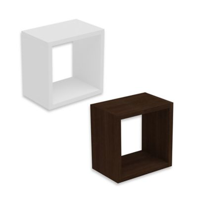 Manhattan Comfort Sahara Square Floating Decorative Shelf in White