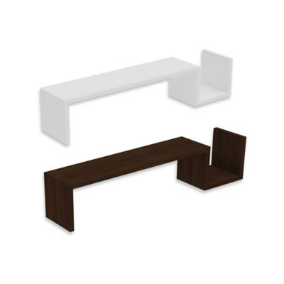 "Manhattan Comfort Zemmur ""S"" Shaped Wall-Mount Floating Shelf in White"