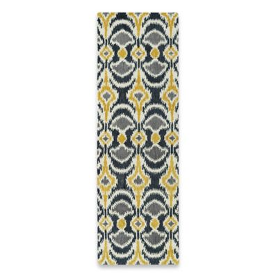 Kaleen Global Inspirations Leon Ikat 2-Foot 6-Inch x 8-Foot Runner in Yellow